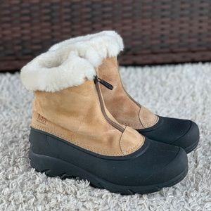 Sorel Snow Angel Zip Tan Suede Faux Fur Lining Ankle Winter Boots Womens 7.5 EUC